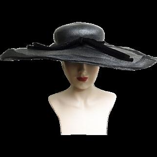 Vintage 1940s Hat//40s Hat//Black//Wide Brim Hat//Designer//Black//Old Hollywood
