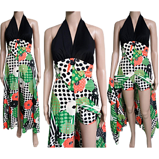 Vintage 1960s Dress//Halter//Matching Hot Pants//60s Gown//Retro//Mad Man//Rockabilly//New Look//