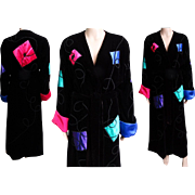 Vintage Georgette Trabolsi Velvet Robe//Satin Accents//Dressing Gown//Black Swirling Accents//Georgette Trabolsi