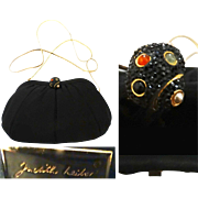 Vintage Judith Leiber Purse//Satin//Signed//New Look// Retro// Rockabilly//Mod//Jeweled//Dust Cover//Femme Fatale//