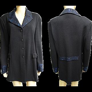 Vintage Sweater// Blue Rhinestone//Designer//Marie Gray//Cardigan//Rhinestones//Sweater//Black//St. John Evening