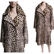Vintage Leopard Coat//Faux Fur//Faux Leopard Coat//Half Belt in Back//Rockabilly//Mod//New Look//Leopard Coat//Designer
