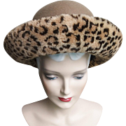 Vintage 1960's Hat//Faux Leopard Brim// Garden Party//Mad Men//60s Hat//Rockabilly//Garden Party//Femme Fatale//Doeskin Felt