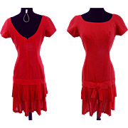 Vintage 1950s Dress//50s Dress/Red//Dropped Waistline//Pleated Bottom//Rockabilly//New Look//Mod//