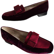 Vintage 1970s Slip Ons//1970s Flats//Talbots//Loafers//Retro//Burgandy//Mod//70s flats