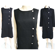 Vintage 1950s Dress//Matching Coat//50s Cocktail Dress//Mod//New Look//Rockabilly//Party Dress//Black//Rhinestone