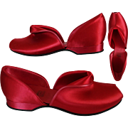 Vintage 1940s Shoes//40s Red Satin//Daniel Green//Red//40s Heels//NOS//Open Toe