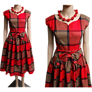 1950s Dress//Vintage 50s Dress//Red Plaid//Rockabilly Dress//New Look//Mod//
