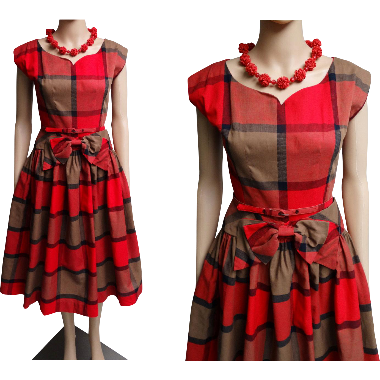 1950s Dress//Vintage 50s Dress//Red Plaid//Rockabilly Dress//New Look//Mod//