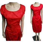 1950s Dress//50s Dress/Red//Designer//Mod//Wiggle//Party Dress//M Nadler//Cocktail Dress//New Look