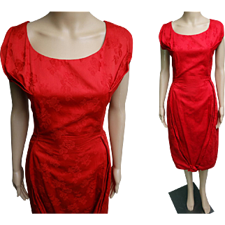 1950s Dress//50s Dress/Red//Designer//Mod//Wiggle//Party Dress//M Nadler//Cocktail Dress//New Look