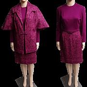 Vintage 1960s Dress//Matching Jacket//Designer//Mod//New Look//Rockabilly//Purple//Mauve//60s Dress//