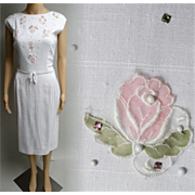 Vintage 1950s Dress//50s Dress/White//Designer//Rhinestones//Appliques//Mod//Wiggle//Party Dress//Nat Turoff
