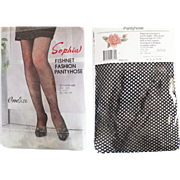 Vintage Pantyhose//Fishnet//Black//Nylons//Hosiery//Sophia//Original Wrapping// Designer//1 Pair//Pinup//One Size//NOS