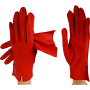 Vintage 1950s Gloves//Red//Deerskin//50s Gloves//Rockabilly//Gown// Wedding//New Look//Red Gloves