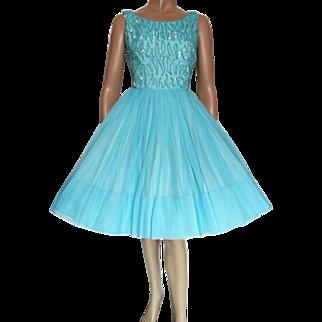 Vintage 1950s Dress |Aqua | Sequins | Jr. Theme | 50s Dress | Full Dress | Party Dress | Designer |
