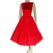 Vintage 1950s Dress/Red/Teena Paige/50s Dress/Rockabilly/New Look/Mod/Designer