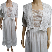 1900s Edwardian Dress //Edwardian Tea Dress // FIne Lawn Fabric //Edwardian Lawn Dress//1900s//