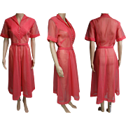 Vintage 1940s Dress | Sheer | Fitted Waist | 40s Dress | Pleated Bodice | Rhinestone Buttons | Illusion Dress