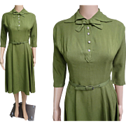 Vintage 1940s Dress | Green | 40s Dress | Nipped Waist | Matching Covered Belt | Rhinestone Buttons |