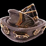 Vintage Silver Metal Belt//Gold Panthers//Metal Belt//Vintage Belt//