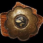 Vintage Leather Belt | Ornate Scalloped Belt Buckle | Real Leather | Brown |