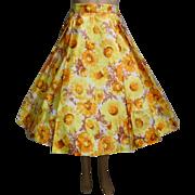 Vintage 1950s Skirt | Floral Skirt | Taffeta Skirt | 50s Skirt | Rockabilly Skirt |