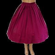 1950s Skirt | Raspberry Skirt | Satin Skirt | Fell Bass Skirt | Vintage 1950s Skirt | Designer Skirt |