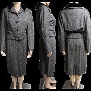 Vintage 1950s Suit | Tailored Suit | 50s Suit | Black & White Suit | 50s Tweed Suit |