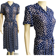 Vintage 1940s Dress | Navy Blue Dress | Polka Dots | 40s Dress | 1940s Dress | Silk Chiffon Dress | 1940s Day Dress
