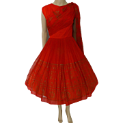Reserved~~~~~~~~~~Vintage 1950s Dress | Elinor Gay Original | 50s Red Dress | Party Dress | Cocktail Dress | Designer Dress | Rockabilly Dress |