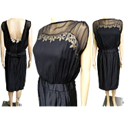 Vintage 1950s Dress | Designer Dress | Natlynn | Illusion Dress | Black Dress | 50s Dress | 1950s Party Dress | 1950s Cocktail Dress