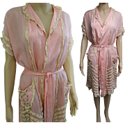 Vintage 1920s Dressing Gown | 1920s Pink Robe | Silk | 20s Dressing Gown | Lace | Floral Braid | 1920s Dressing Gown | 1920s Silk Robe |