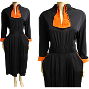 1940s Dress | Black Dress | Vintage 1940s Dress | Orange Velvet Trim | 40s Dress | 1940s Day Dress