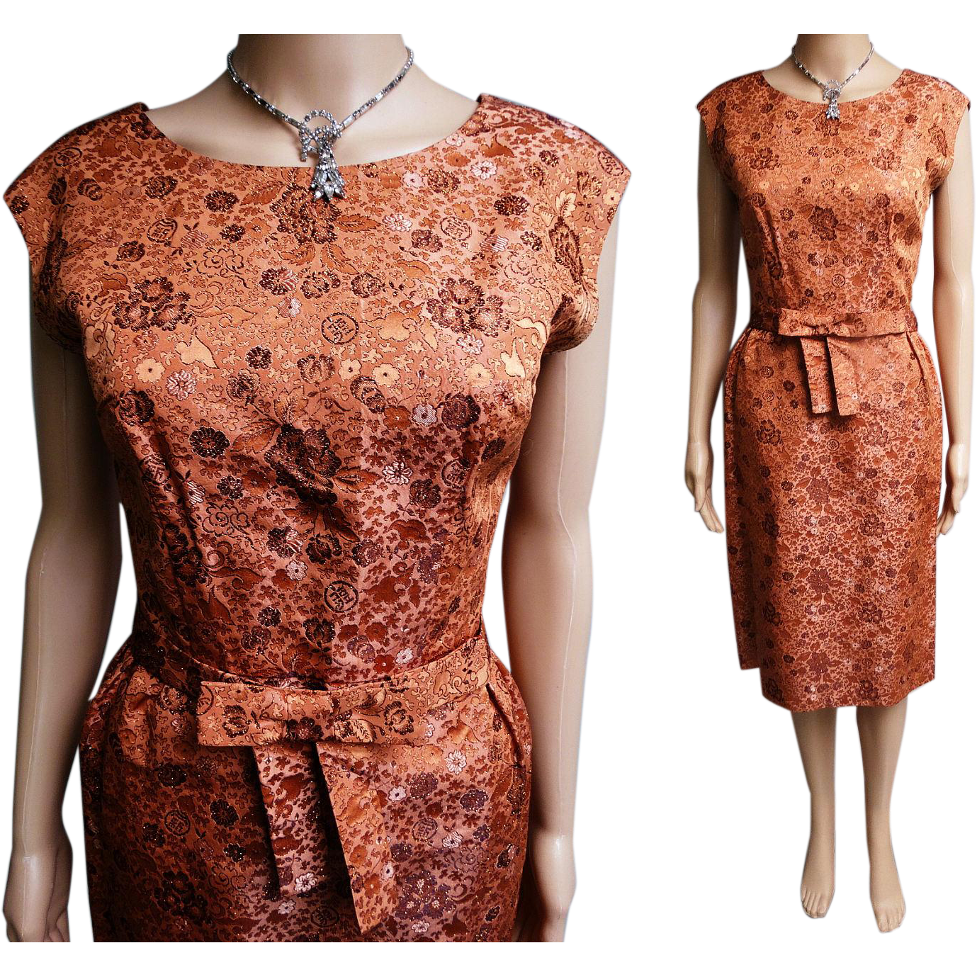Vintage 1950s dress copper brocade dress wiggle dress for 41 river terrace new york ny 10282