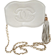 Vintage Chanel Purse//Creme//Signed//New Look// Retro// Rockabilly//Mod//Femme Fatale//Chanel - Red Tag Sale Item