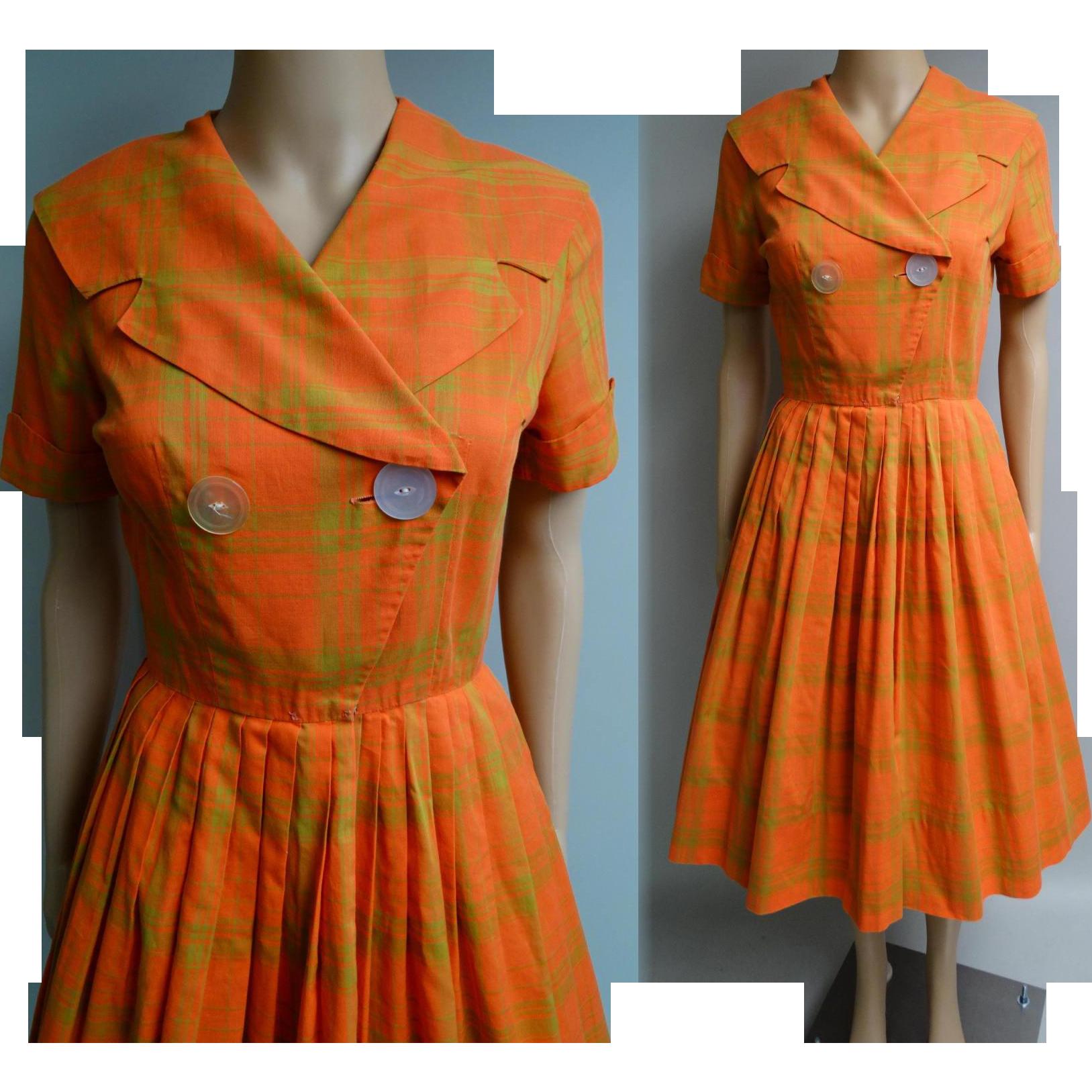 Vintage 1950s Dress Orange Dress Shawl Collar Dress