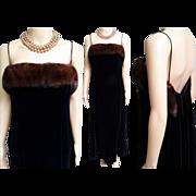 Vintage 1950s Dress   Black Velvet Gown   Mink Trim Dress   Party Dress   Cocktail Dress   Long Evening Gown   50s Black Velvet Dress  