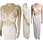Vintage 1930s Peignoir Set | Burlesque Set | peignoir set | 1930s Lingerie | 1930s Burlesque Set | 1930s Gown | 30s Gown | 30s Nightgown