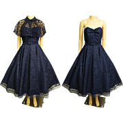 Vintage 1950s Dress | Navy Blue Dress | 1950s Party Dress | Blue Lace Dress | 50s Strapless Dress | 50s Dress | 1950s Dress Matching Cape |