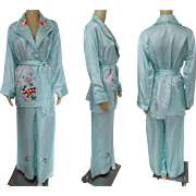 Vintage 1950s Oriental Pajamas | 50s Embroidered Pajamas | Light Blue Pajamas | Asian Oriental Pajamas | Silk Satin Pajamas |
