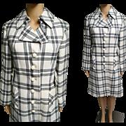 Vintage 1960s Coat | 60s Designer Coat | Plaid Coat | 60s Coat | Tailored Coat | Creme Black Greg Coat | 1960s Dress coat