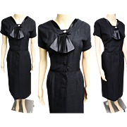 Vintage 1950s Dress | Black Dress | Clayton Dress | 50s Dress | Rockabilly Dress | 1950s Vintage Dress | Larger Size Dress |