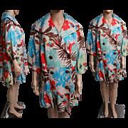 Vintage 1970s Coat | 70s Coat | Tropical Coat | Designer Coat | Tropical Flowers Coat | Double Breasted Coat | Colorful Coat
