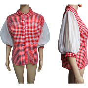 Vintage 1950s Blouse | Red Blouse | 50s Blouse | Designer Blouse | Poufy Sleeve Blouse | Double Breasted Blouse