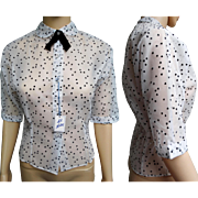 Vintage 1950s Blouse | Flocked Hearts Blouse | 50s Blouse | NOS Blouse | 1950s Vintage Blouse | Nylon Blouse |