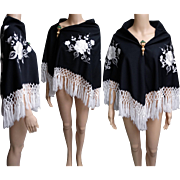 Vintage Black Shawl | Embroidered Shawl | Crocheted Fringe Shawl | White Embroidered Floral Shawl |