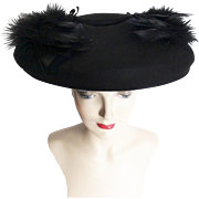 Vintage 1940s Hat //40s Hat// Feathered Hat//Black//Fatale// Couture// Mad Man// Rockabilly//New Look//Mod
