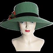 Vintage 1970s Hat//70s Hat//Wide Brim//Green//Betmar//Couture//Elegant