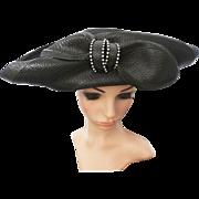 Vintage 1980s Hat   Large Brim Hat   Black Hat   Rhinestone Ornamentation Hat   80s Hat   Designer Hat  